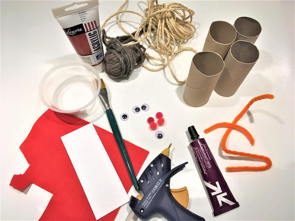 DIY bricolage de Noël, bricolage de Noël pour enfants, bricolage facile pour enfants, renne en rouleau de papier toilette, renne en rouleau de PQ