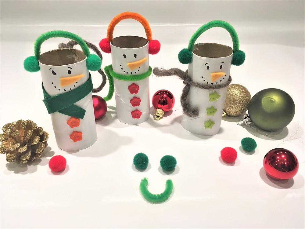 DIY tuto tutoriel bricolage de Noël bonhomme de neige en rouleau de papier toilette