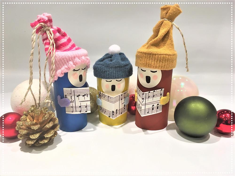 Recyclage rouleaux papier toilette, DIY tuto tutoriel bricolage de Noël avec des rouleaux de papier toilette, bricolage de Noël pour enfants de 18 mois à 4 ans