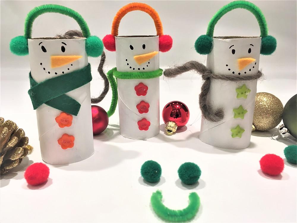 cure-pipe, bonhomme de neige, rouleau de papier toilette, PQ, activité créative, recyclage
