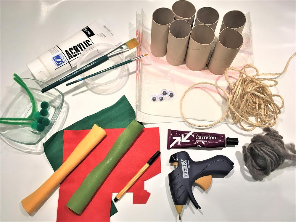 DIY d'inspiration Montessori, Noël, bricolage rouleaux de papier toilette, bonhomme de neige en papier toilette, bonhomme de neige en PQ