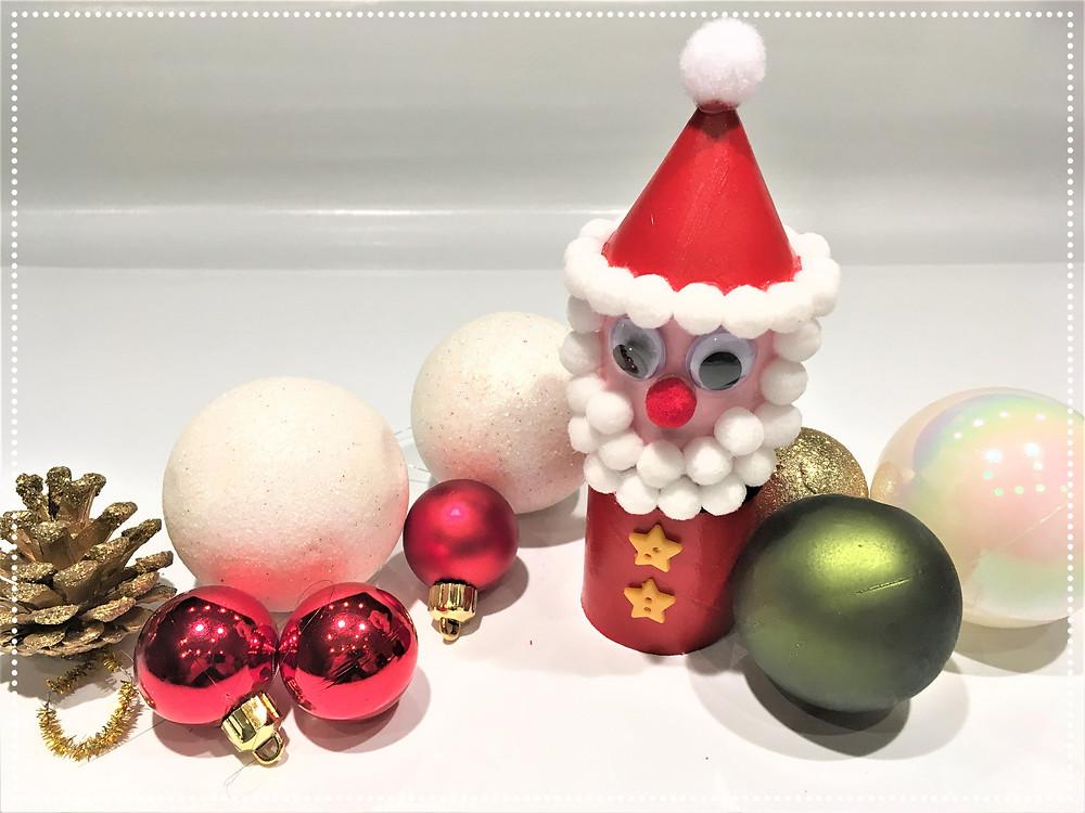 DIY père Noël en rouleau de papier toilette, bricolage de Noël pour enfants, activité créative de Noël, rouleau de PQ