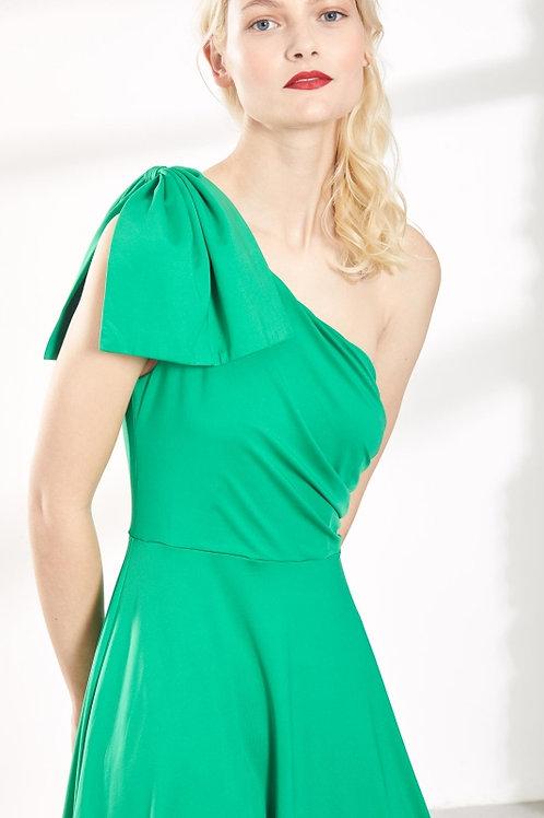 Vestido verde asimétrico de punto con lazada