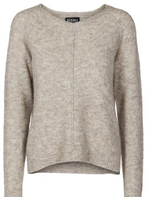 Jersey crudo de lana cuello pico