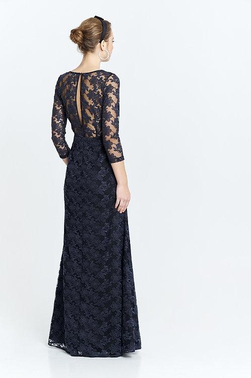 Vestido negro  con flores bordadas