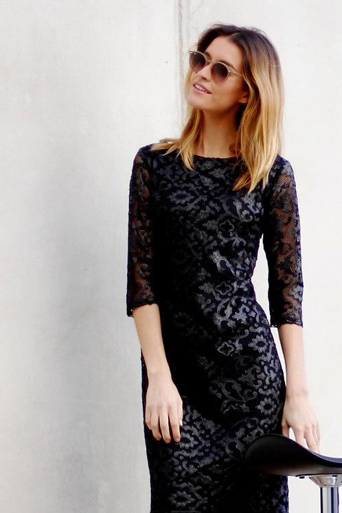 Vestido rejilla y flores negro