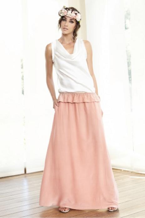Falda-vestido de seda con pedrería en volante SAYAN