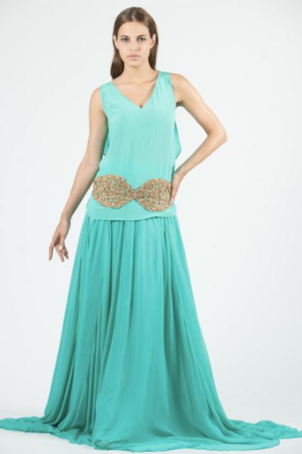 Falda de seda color turquesa SAYAN