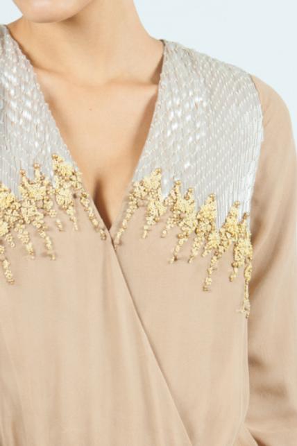 Vestido largo beige de seda con lentejuelas SAYAN