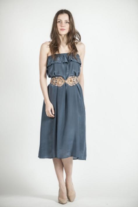 Falda-vestido de seda con pedrería en volante SAYAN (agotado color azul)