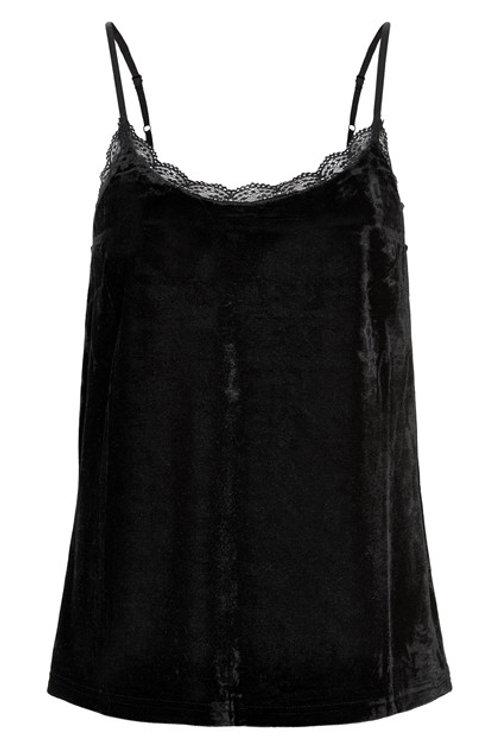 Top negro de terciopelo lencero