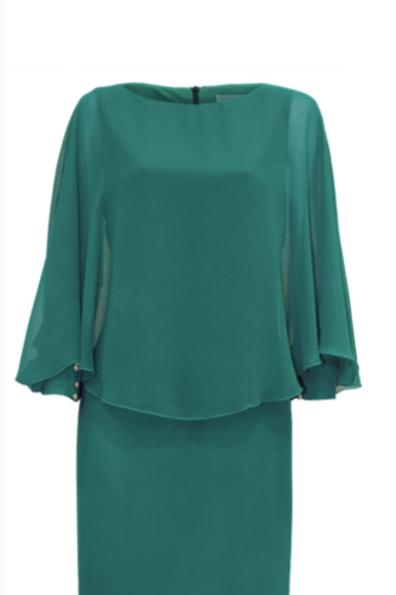 Vestido corto verde con manga larga vaporosa