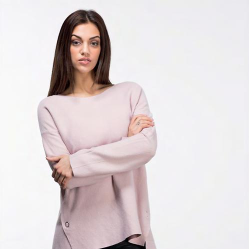 Jersey rosa palo de punto con botones laterales