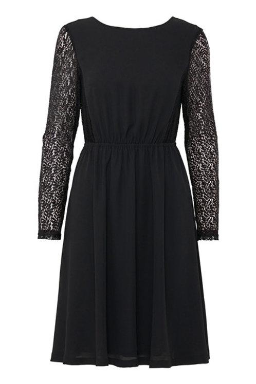Vestido negro mangas bordadas y espalda escotada
