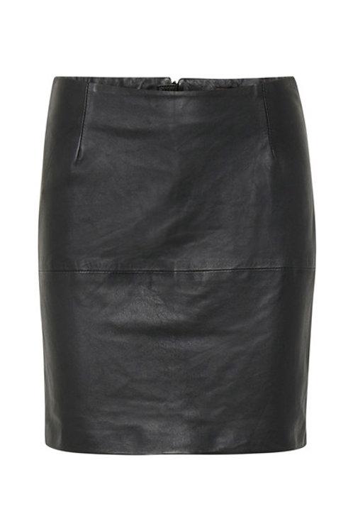 Falda negra de cuero (napa)