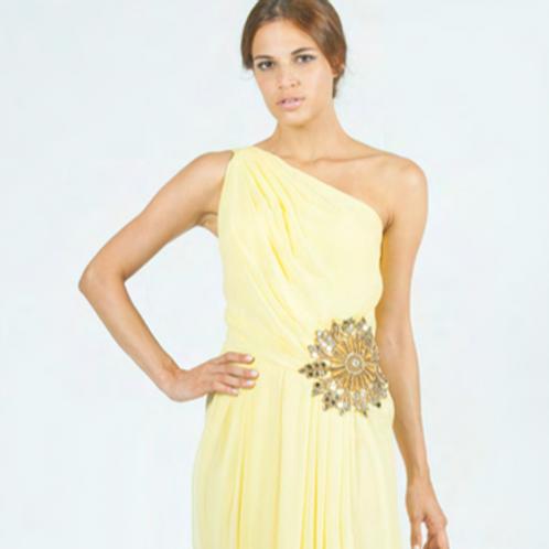 Vestido largo asimétrico de seda con bordado SAYAN (amarillo no disponible)