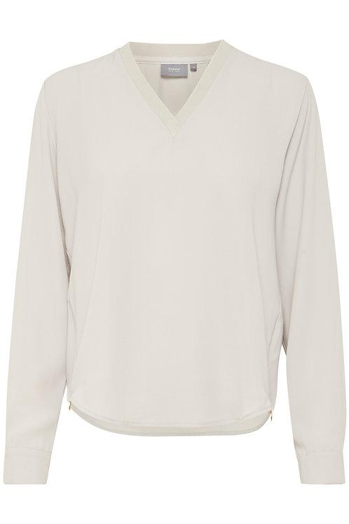 Blusa cuello pico color gris