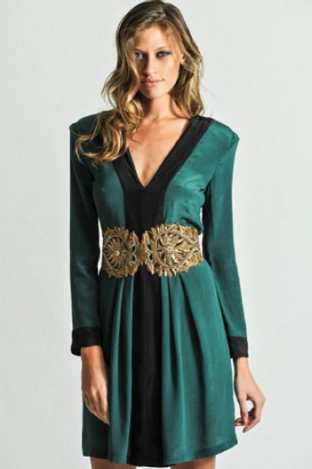 Vestido corto bicolor de seda y espalda escotada SAYAN