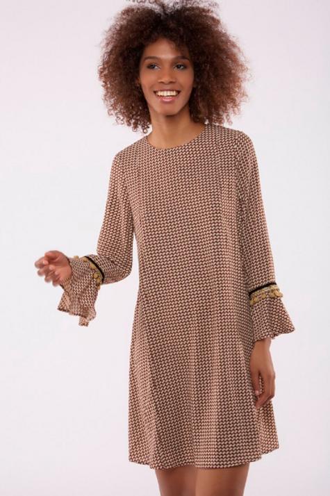 Vestido corto estampado con campana en puños
