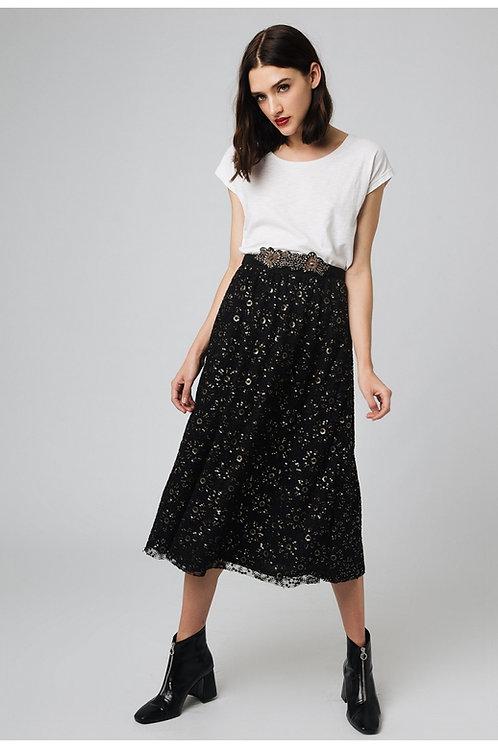 Falda midi negra con lentejuelas bordadas
