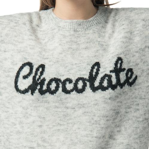 """Jersey nude de punto con mensaje """"Chocolate"""""""