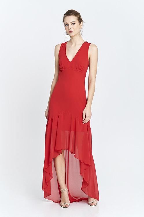 Vestido rojo con abotonadura en espalda y cintura entallada