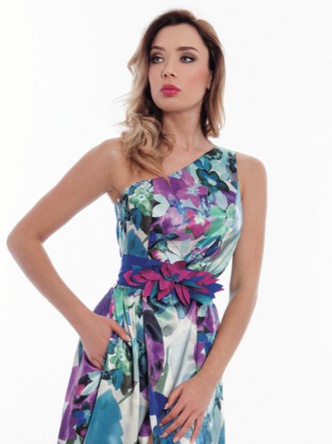 Vestido largo asimétrico estampado floral violeta ROSE