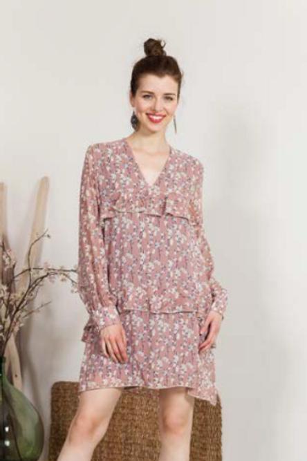 Vestido de gasa estampado floral rosado