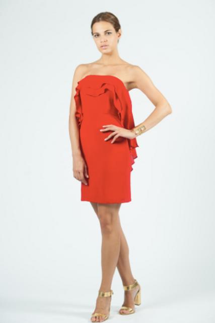 Vestido corto de seda con volante SAYAN (agotado rojo)