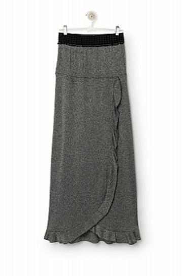 Falda larga lurex plata con volante cruzado