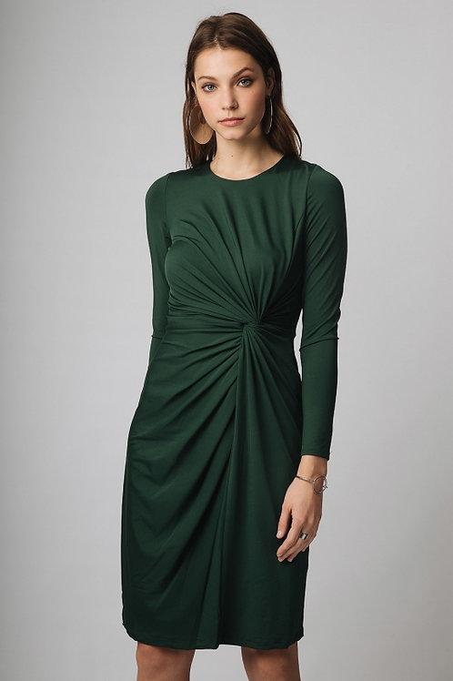 Vestido corto verde de punto con drapeado en cintura