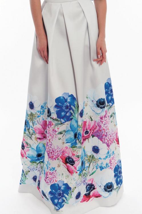 Falda larga con flores en bajos ROSE
