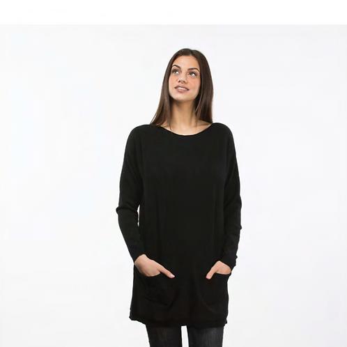Jersey - Vestido de punto gris marengo con bolsillos