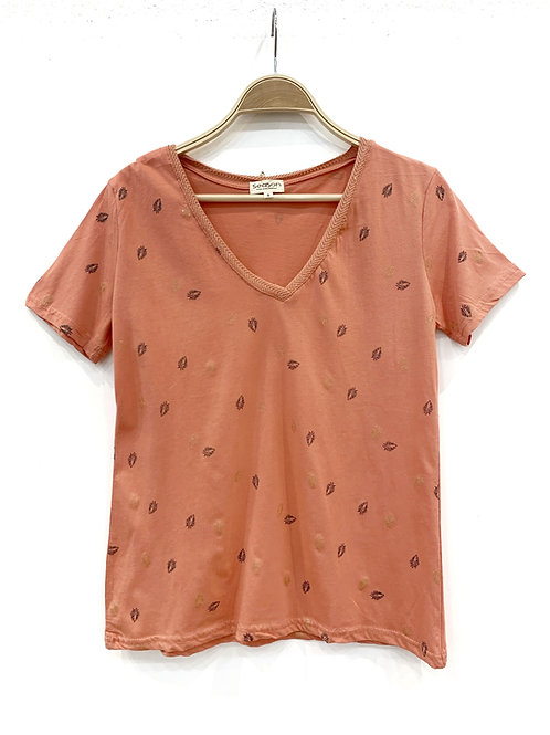 Camiseta coral hojas