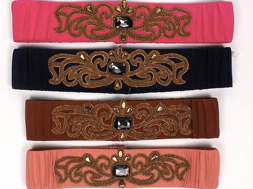 Cinturón de seda con aplique dorado (varios colores) SAYAN