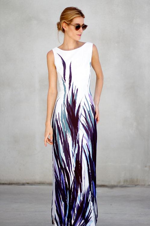 Vestido blanco con estampado tonos violeta Elisa Cortés