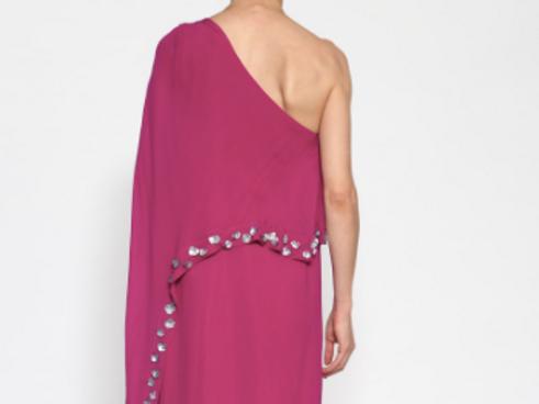 Vestido largo asimétrico con cuentas bordadas SAYAN