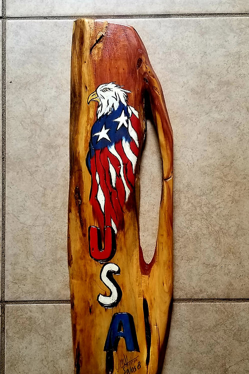 Eagle Flag USA Art on Wood #115