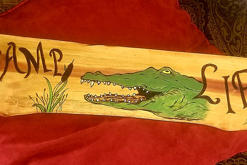 Swamp Life Gator -Art on Wood - Item #125