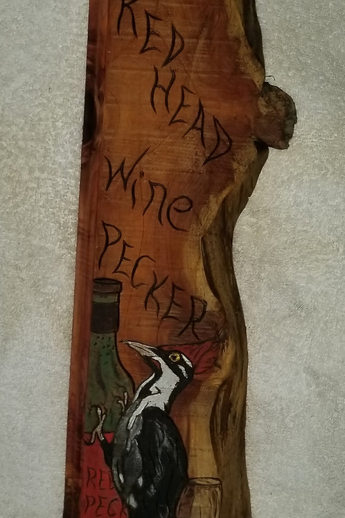 Red Headed Woodpecker & Wine-Art on Wood-Item #123