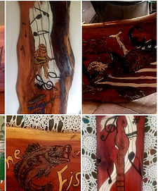 Art On Wood By Mark & DJ Katie Handmade Self Care Essential Oils Anxiety Pain Sleep Mosquito Bug NoSeeUm Spray Flea Tick Headache Migraine Arthritis Nerve Distilled Pet Natural Lotion Body Balms Chapstick