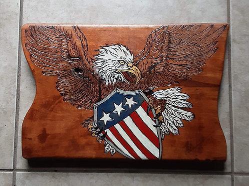 Eagle Flag USA Art on Wood #115