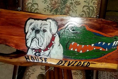 House Divided-Dog & Gator Art On Wood -#103