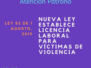Atención Patrono: Licencia Especial para Víctimas de Violencia