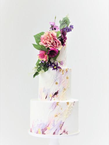 Modern Oil Paint Effect wedding cake