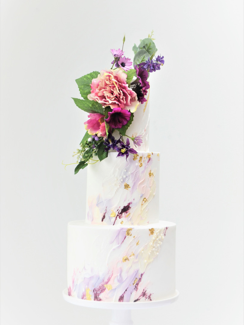 Modern Oil Paint Effect wedding cake