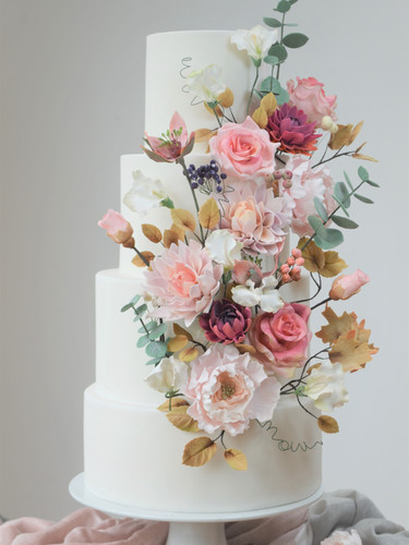 Classic White Wedding Cake with Sugar Crafted Flowers