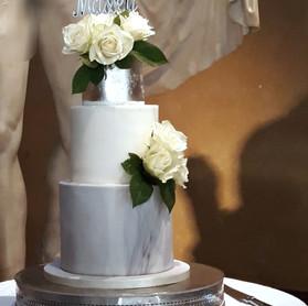 Grey Marble Silver Leaf Wedding Cake