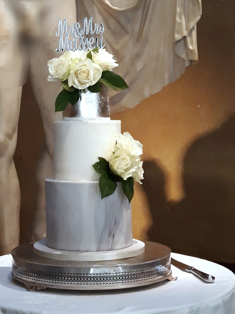 Grey Marble Silver Leaf Wedding Cake