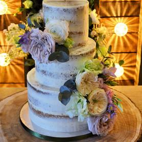 Semi-naked Wedding Cake with David Austin Roses